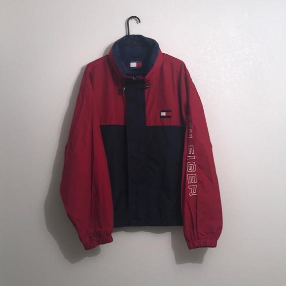 Tommy Hilfiger Jacket Vintage Tommy Hilfiger Windbreaker 90s Tommy Hilfiger Brown Harrington Zipper Jacket  Size XXL